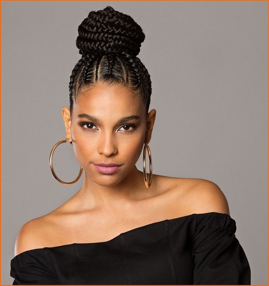 Braided Updo Hairstyle For African Amrican Women 2018 (12 Regarding African Updo Hairstyles (View 7 of 15)