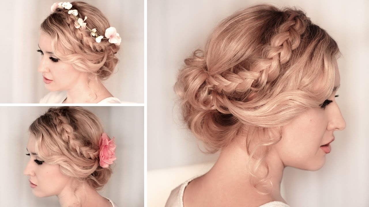 Braided Updo Hairstyle For Christmas Holidays, New Year Party Inside Fancy Updos For Medium Length Hair (View 3 of 15)