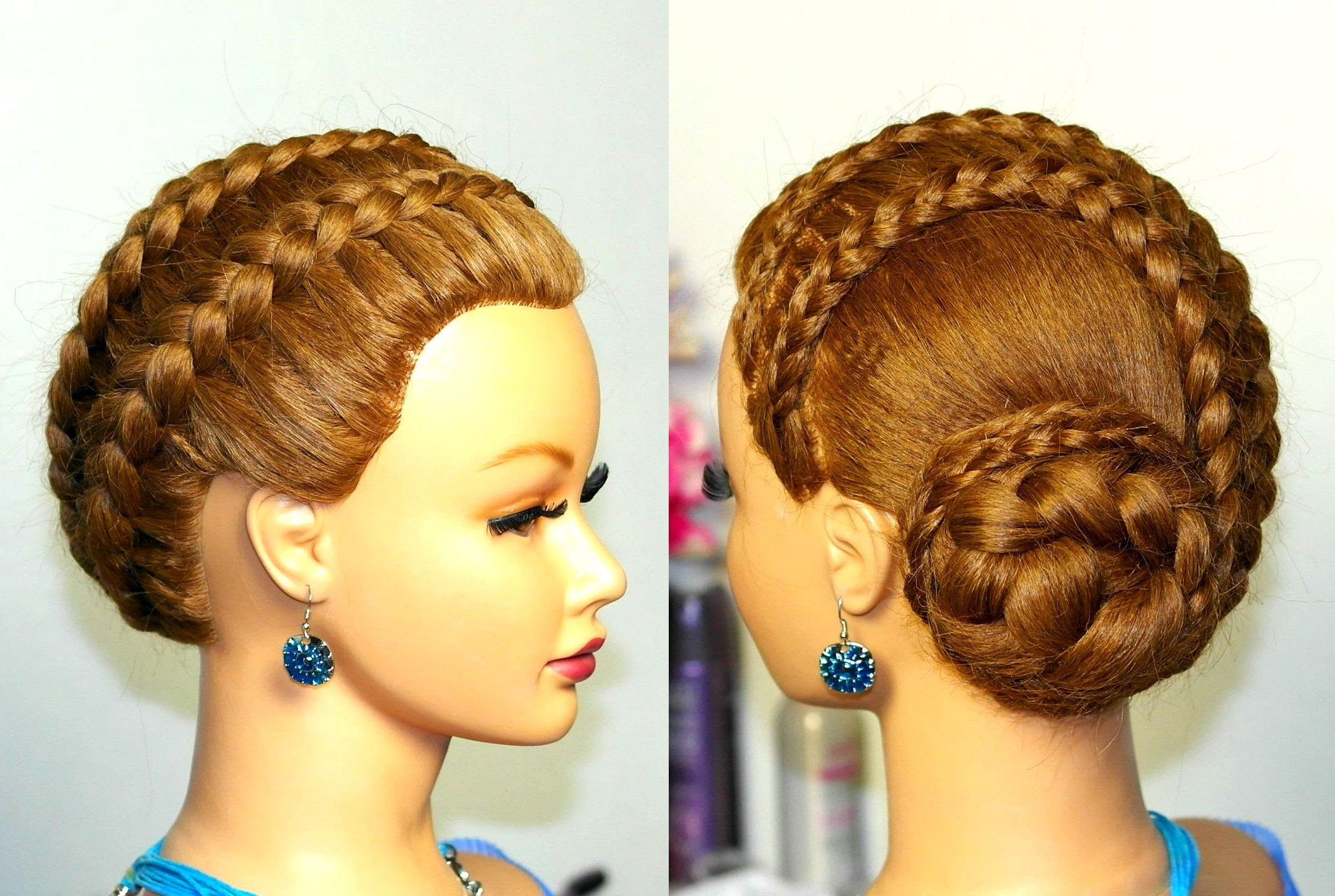 Braided Updo Hairstyle For Long Hair. French Braids (View 6 of 15)
