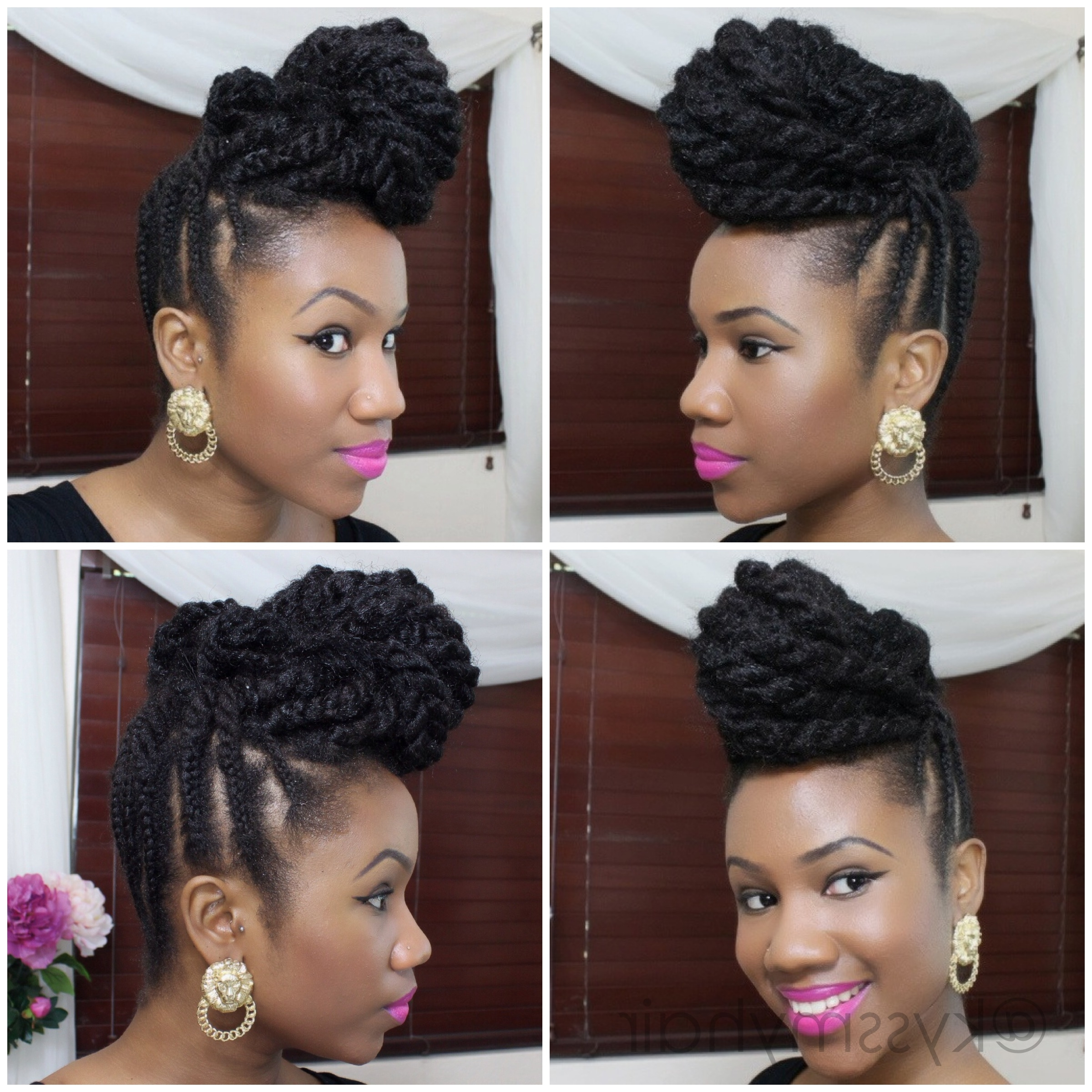 Braided Updo On Natural Hair Using Marley Hair Best Ideas Of Natural Intended For Updos Hairstyles For Natural Black Hair (View 9 of 15)