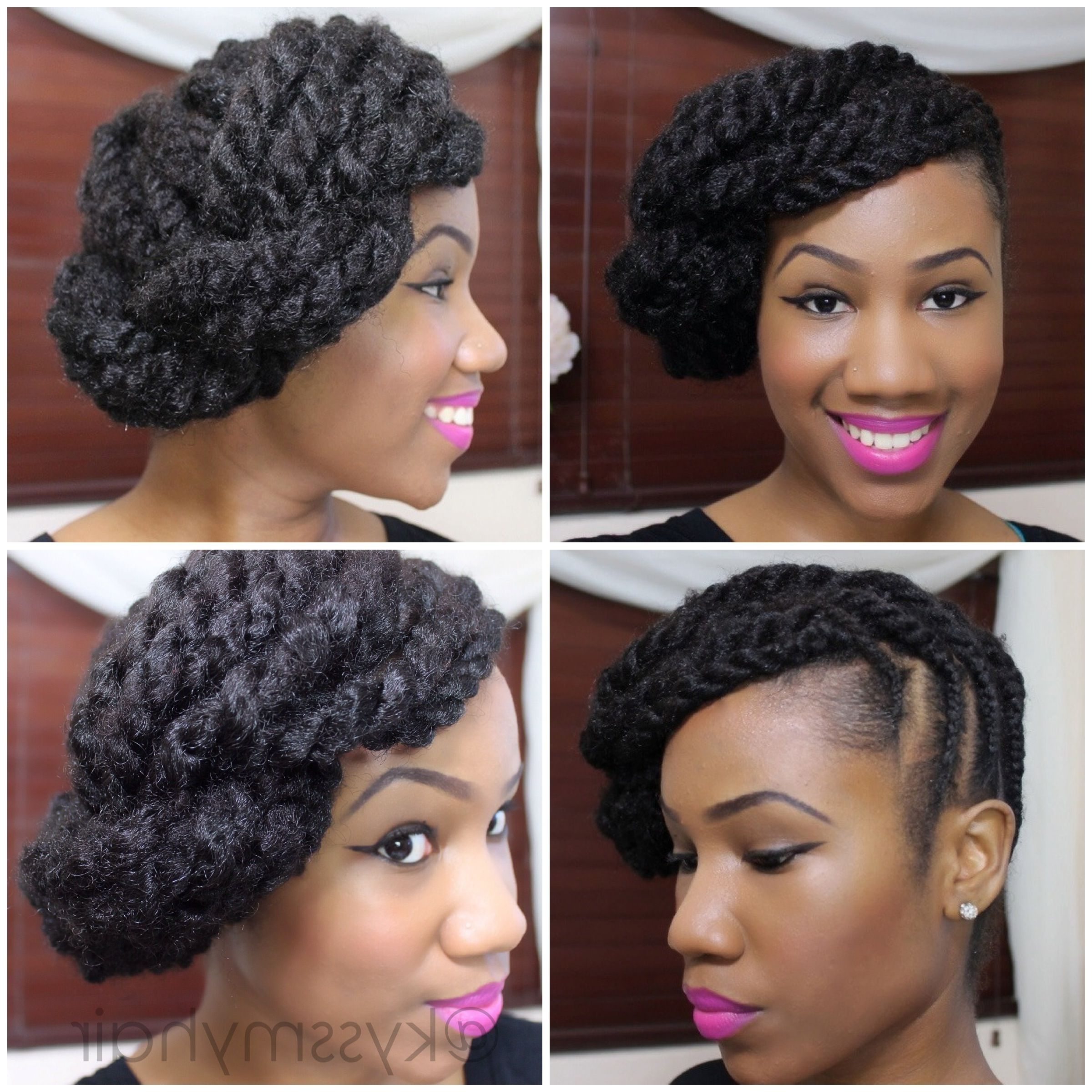 Braided Updo On Natural Hair Using Marley Hair | Kyss My Hair | Kyss Intended For Braided Updo Hairstyles With Extensions (View 6 of 15)