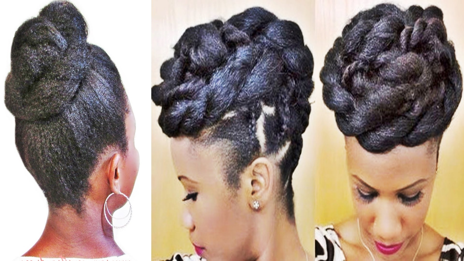 Braids And Twists Updo Hairstyle For Black Women – Youtube Throughout Black Updo Hairstyles (View 3 of 15)