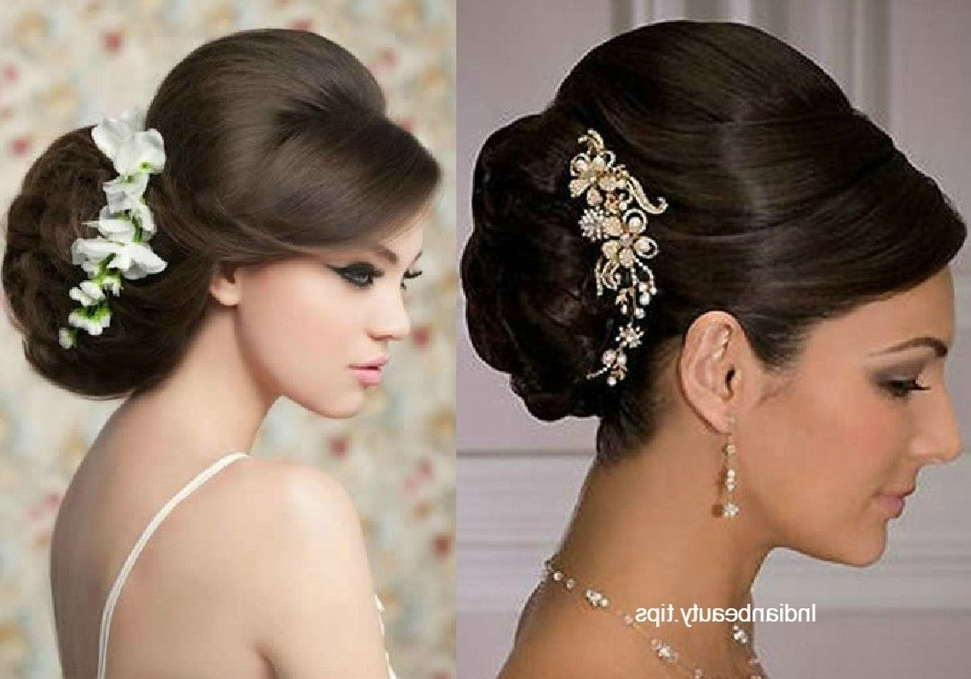 Bridal Bun Hairstyle 30 Elegant Bridal Updo Hairstyles Indian Beauty With Regard To Bridal Bun Updo Hairstyles (View 6 of 15)