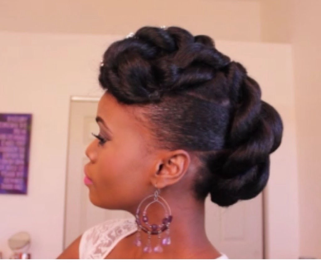 Bridal Faux Updo With Braidng Hair On Ethnic Hair – Youtube Inside Black Natural Updo Hairstyles (View 3 of 15)