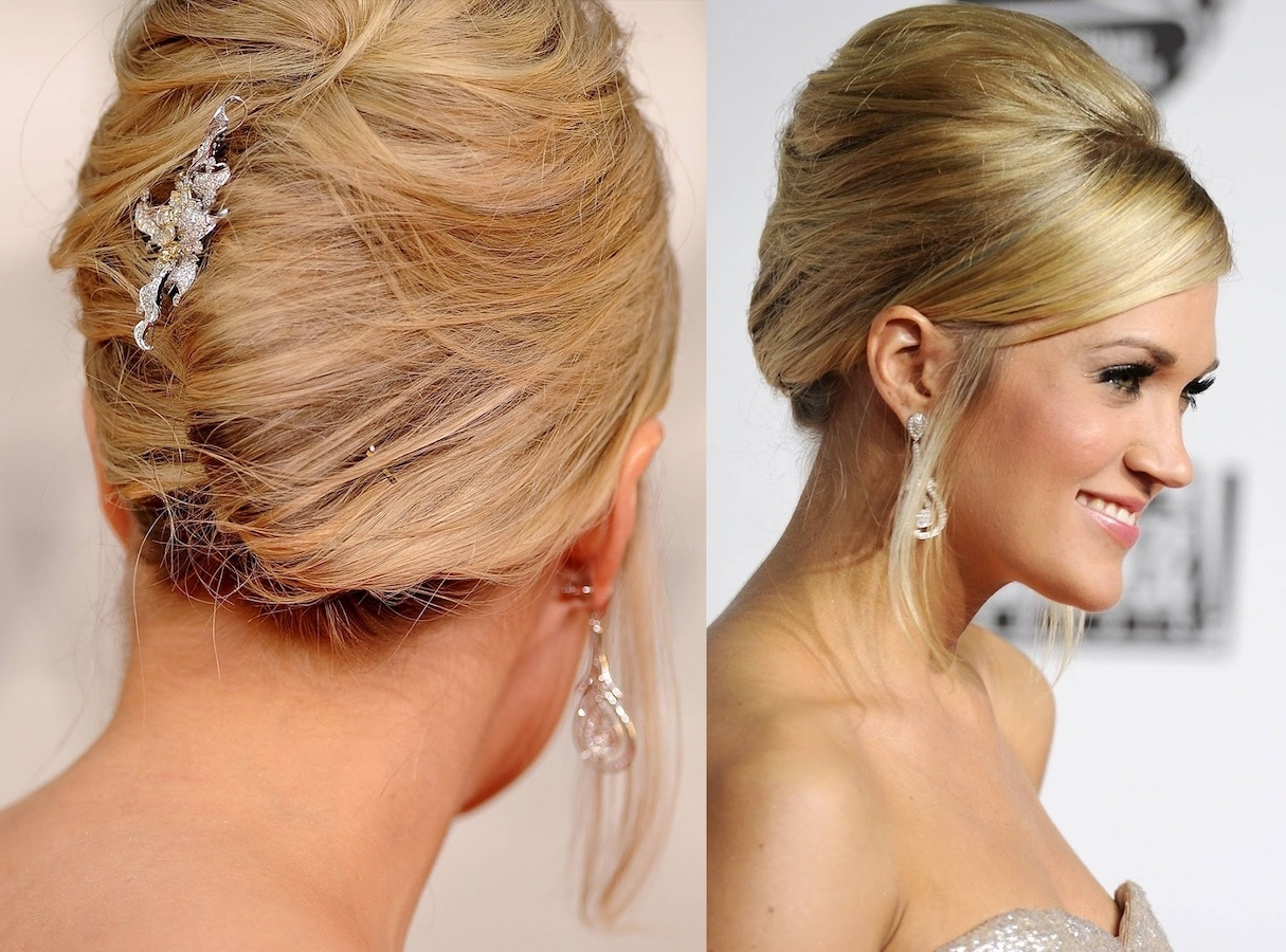 Bridal French Twist |  French Twist With A Spangled Flower Pertaining To French Twist Updo Hairstyles (View 7 of 15)