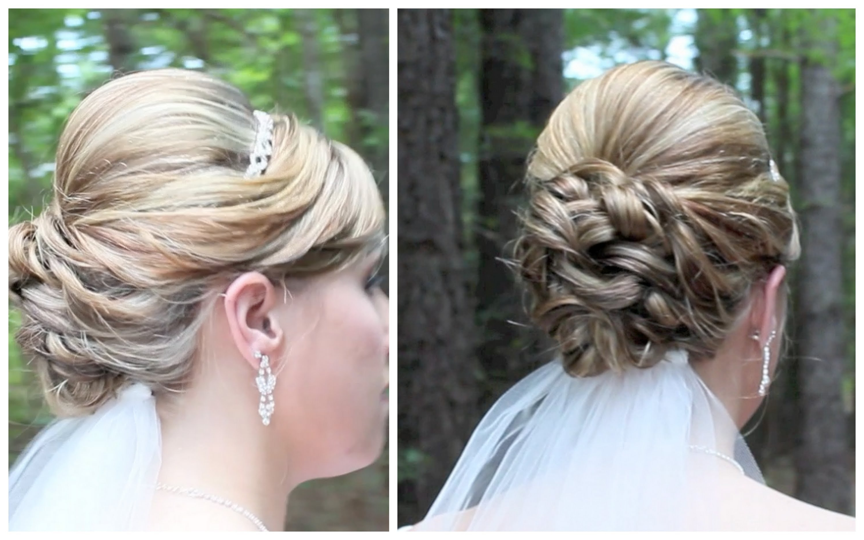 Bridal Updo On Shoulder Length Hair – Youtube Regarding Messy Updos For Medium Hair (View 3 of 15)