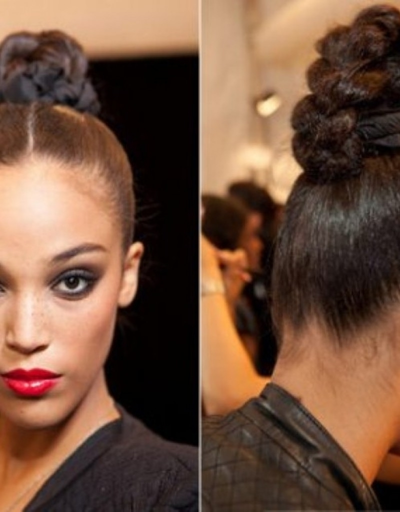 Bun Hairstyle Black Women Black Updo Hairstyles With Bangs Women Pertaining To Updo Hairstyles With Bangs For Black Hair (View 5 of 15)