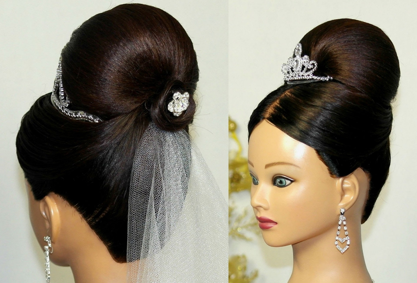 Buns Hairstyles Bridal Updo Bun Hairstyle For Medium Long Hair Inside Updo Hairstyles For Weddings (View 12 of 15)