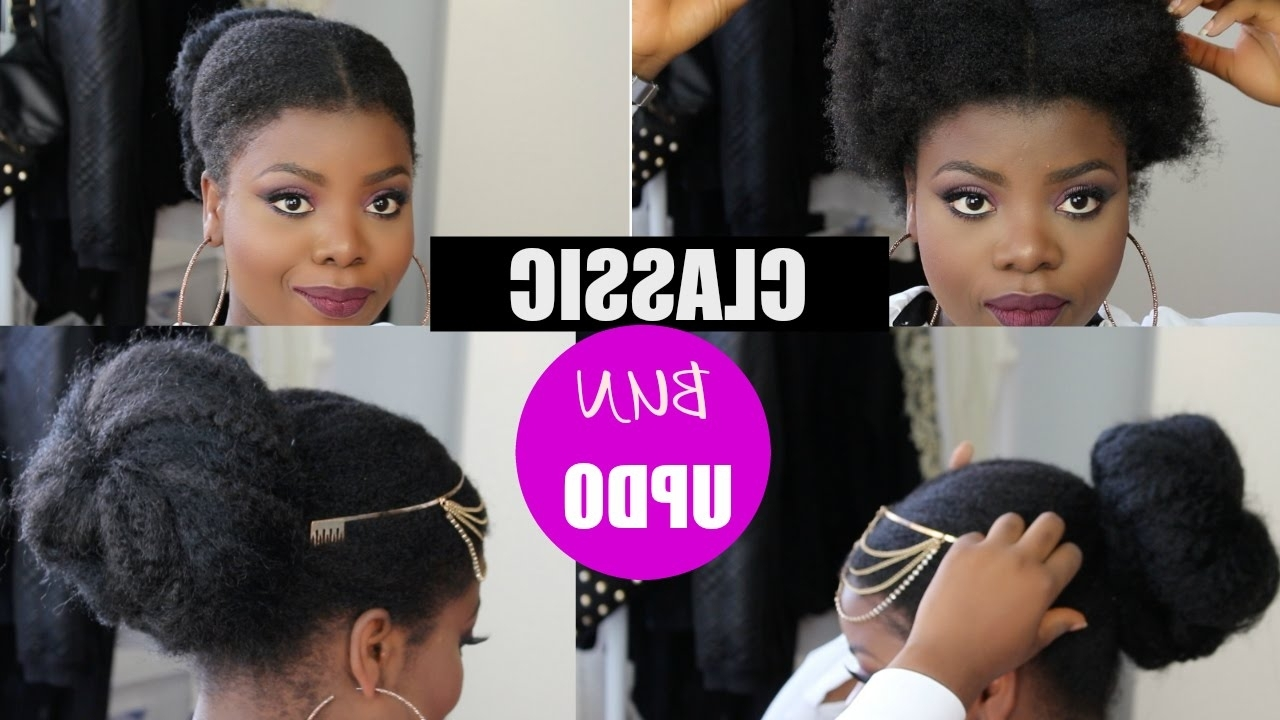Classic Faux Bun Updo On Short 4C Natural Hair Marley Hair For Natural Updo Bun Hairstyles (View 2 of 15)