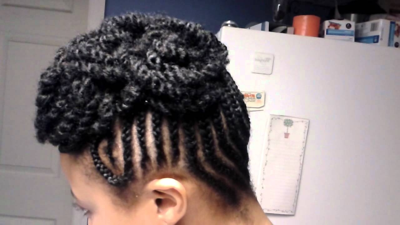 Cornrow Updo With Kinky Twist Pompadour! – Youtube Intended For Updo Cornrow Hairstyles (View 5 of 15)