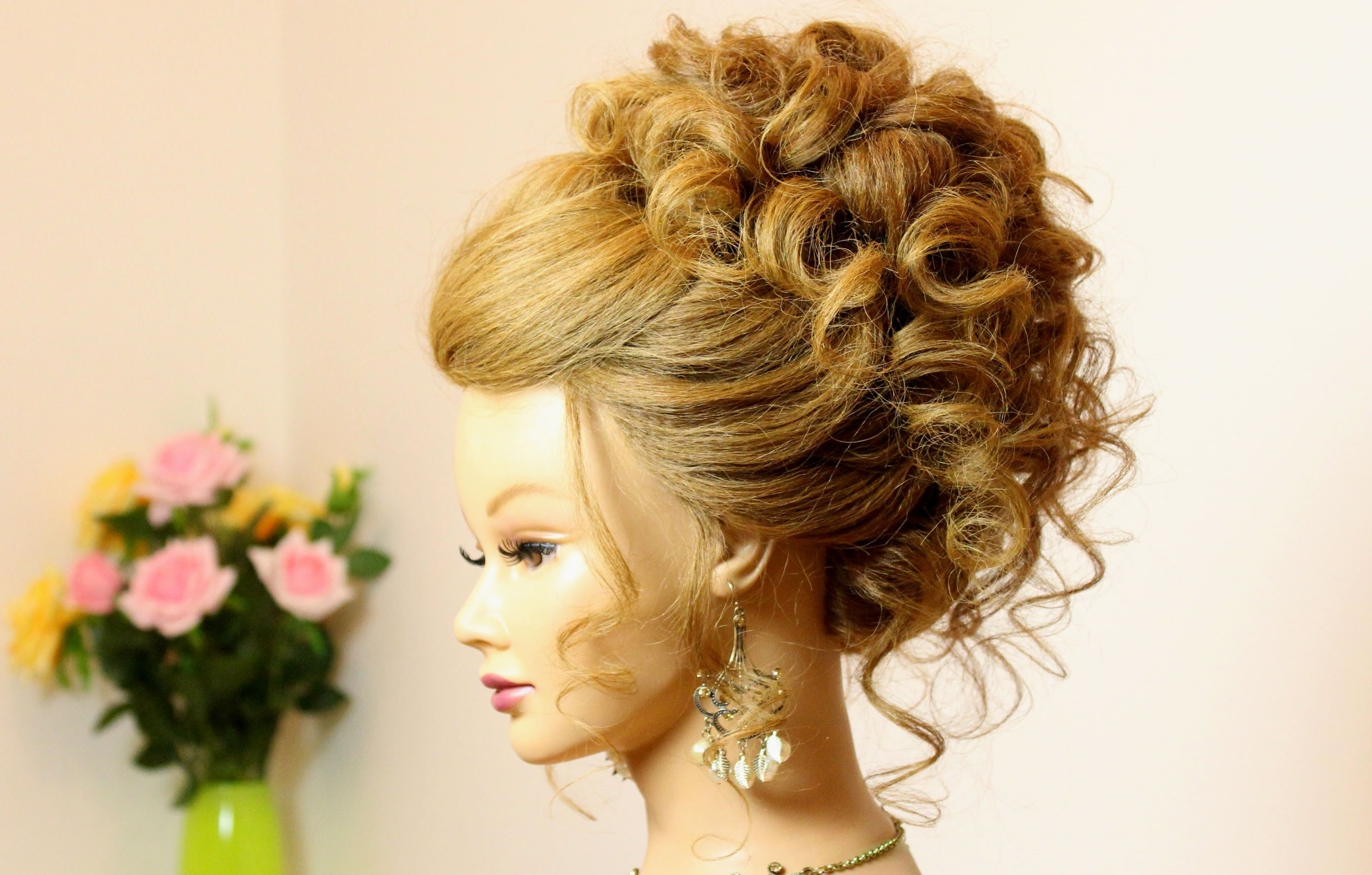 Curly Hairstyle For Long Medium Hair. Wedding Prom Updo (View 1 of 15)