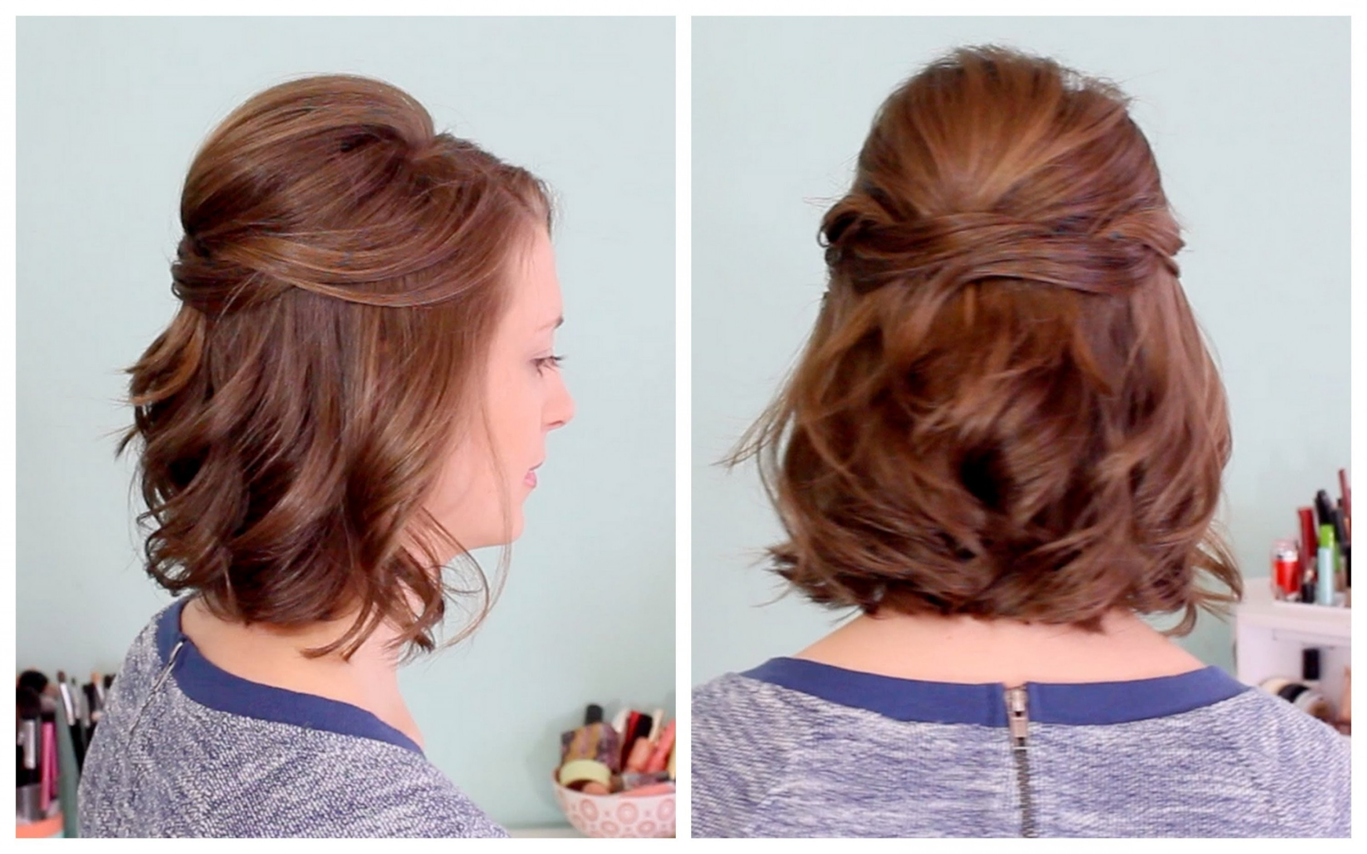 Curly Half Updo Medium Length Hairstyles Quick Half Up Hairstyle Regarding Half Updo Hairstyles For Medium Length Hair (View 3 of 15)