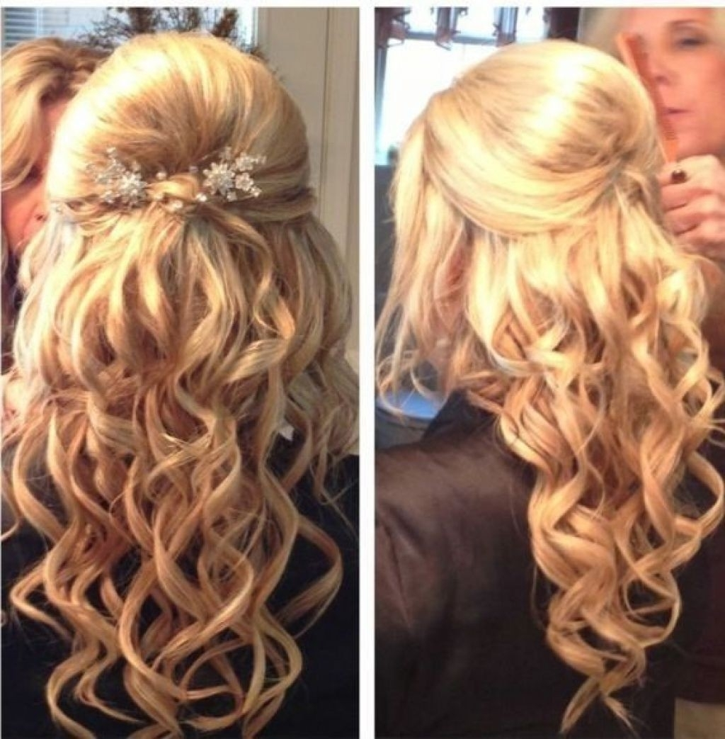 Curly Half Updo Medium Length Hairstyles Updos For Medium Hair For Partial Updos For Medium Hair (View 4 of 15)