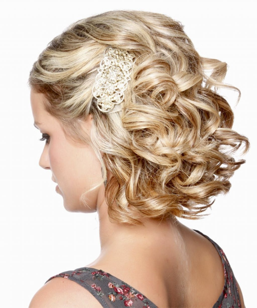 Curly Updo Hairstyle Medium Blonde Side View Inside Curly Updo Hairstyles For Medium Hair (View 6 of 15)