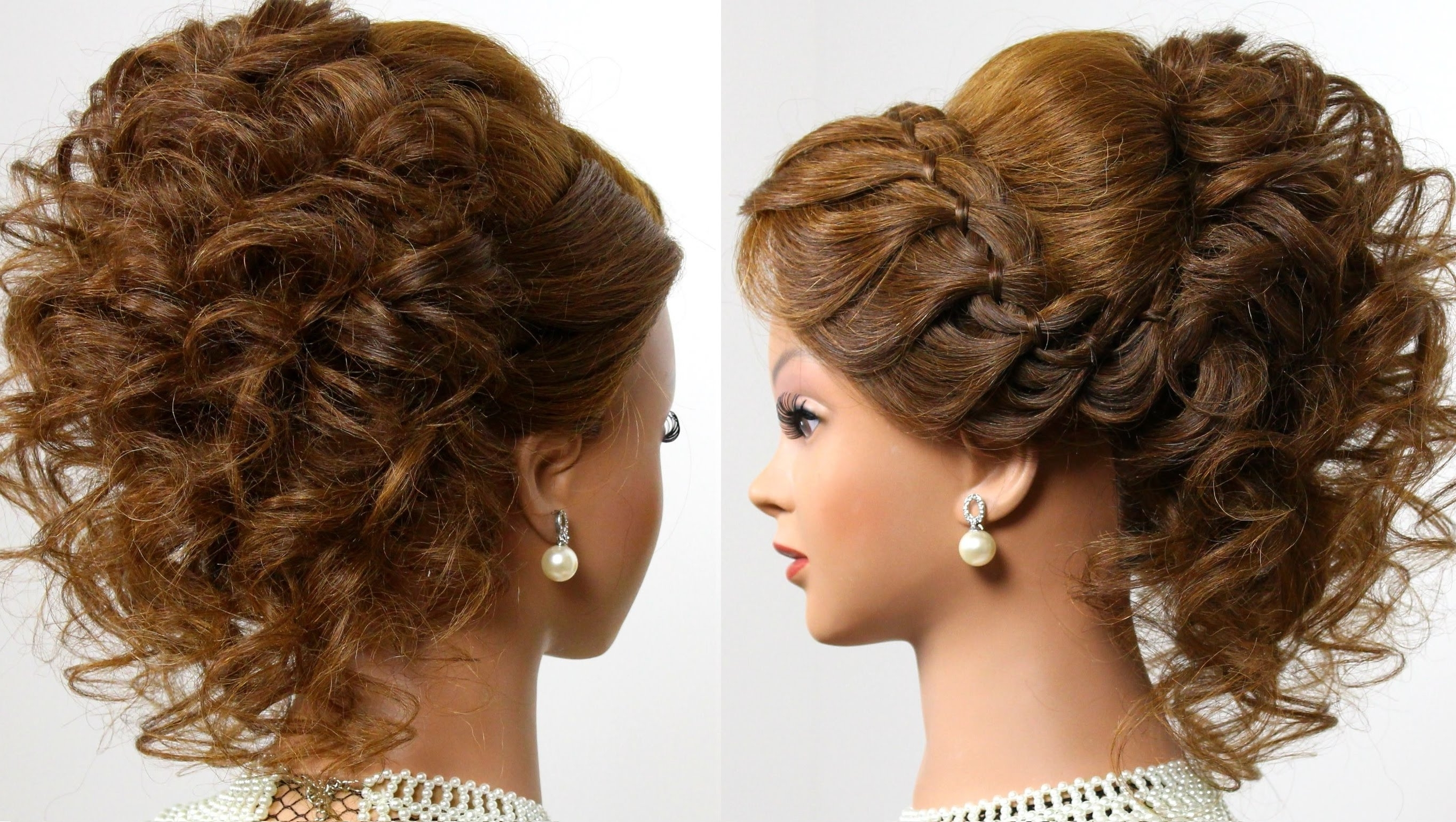 Curly Wedding Prom Hairstyle For Long Hair Sensational Romantic With Regard To Curly Updo Hairstyles For Medium Length Hair (View 3 of 15)