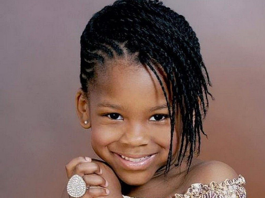 Cute African American Little Girl Braided Hairstyles Side Bangs Inside Cute Updos For African American Hair (View 7 of 15)
