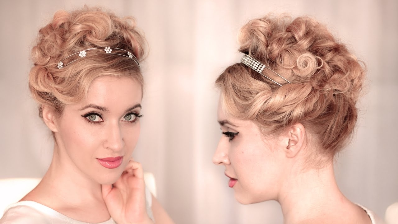 Cute, Easy Curly Updo For Wedding/prom ❤ Hairstyle For Medium Long Pertaining To Updo Hairstyles For Wavy Medium Length Hair (View 3 of 15)