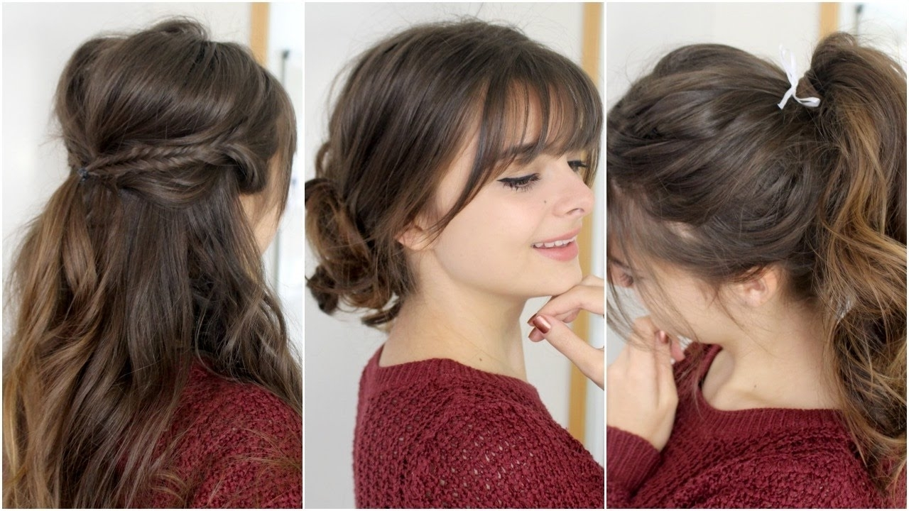 Cute, Easy Hairstyles With Bangs | Tutorial – Youtube For Updos For Long Hair With Bangs (View 5 of 15)
