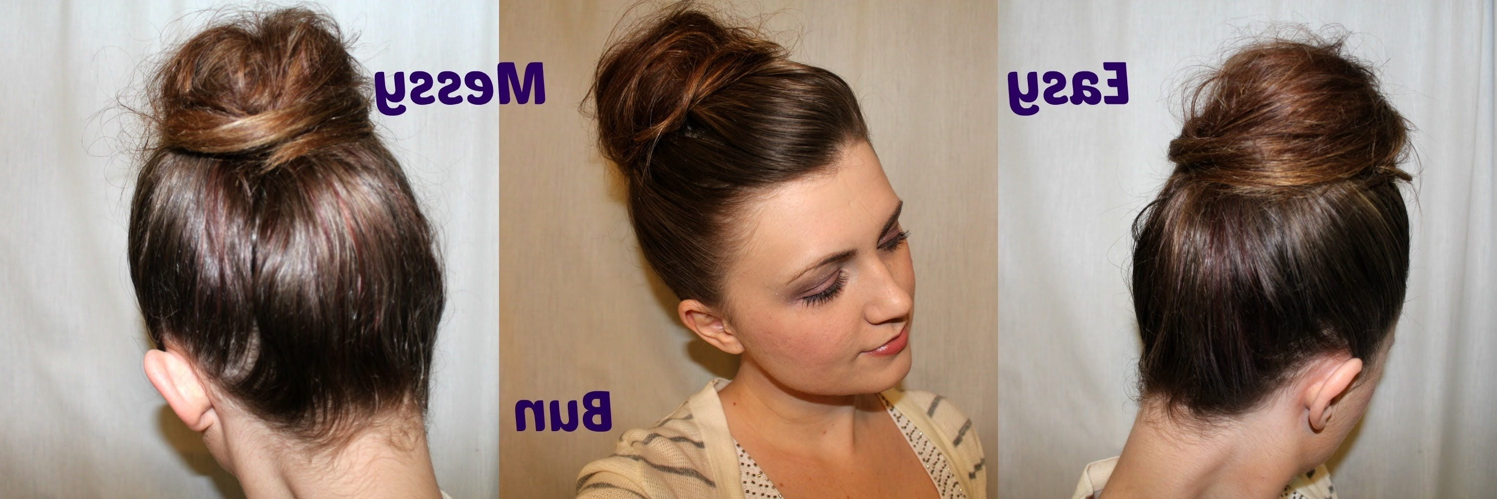 Cute Easy Messy Bun Hairstyle Tutorial For Medium To Long Hair With Regard To Easy Updo Hairstyles For Medium Length Hair (View 4 of 15)