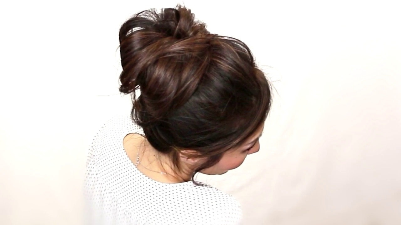 Cute French Fishtail Braided Messy Bun Tutorial | Cute Hairstyles Inside Updo Hairstyles For School (View 8 of 15)