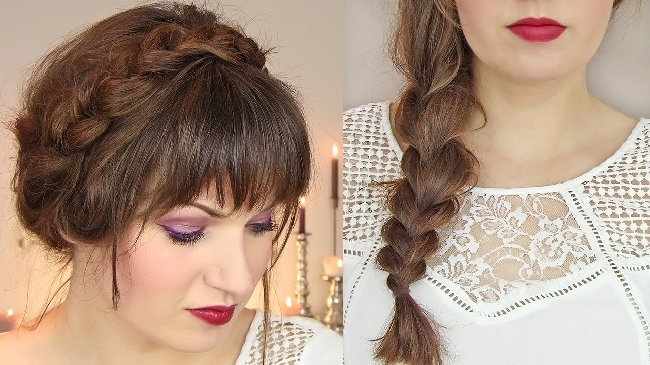 Cute Hairstyles For Thin Hair: Thick Braid & Milkmaid Updo – Youtube Throughout Updos For Medium Thin Hair (View 14 of 15)
