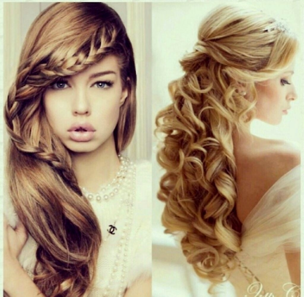 Cute Long Hairstyles With Curls For Brunette Hair 2017 Easy Curly Throughout Wavy Hair Updo Hairstyles (View 3 of 15)
