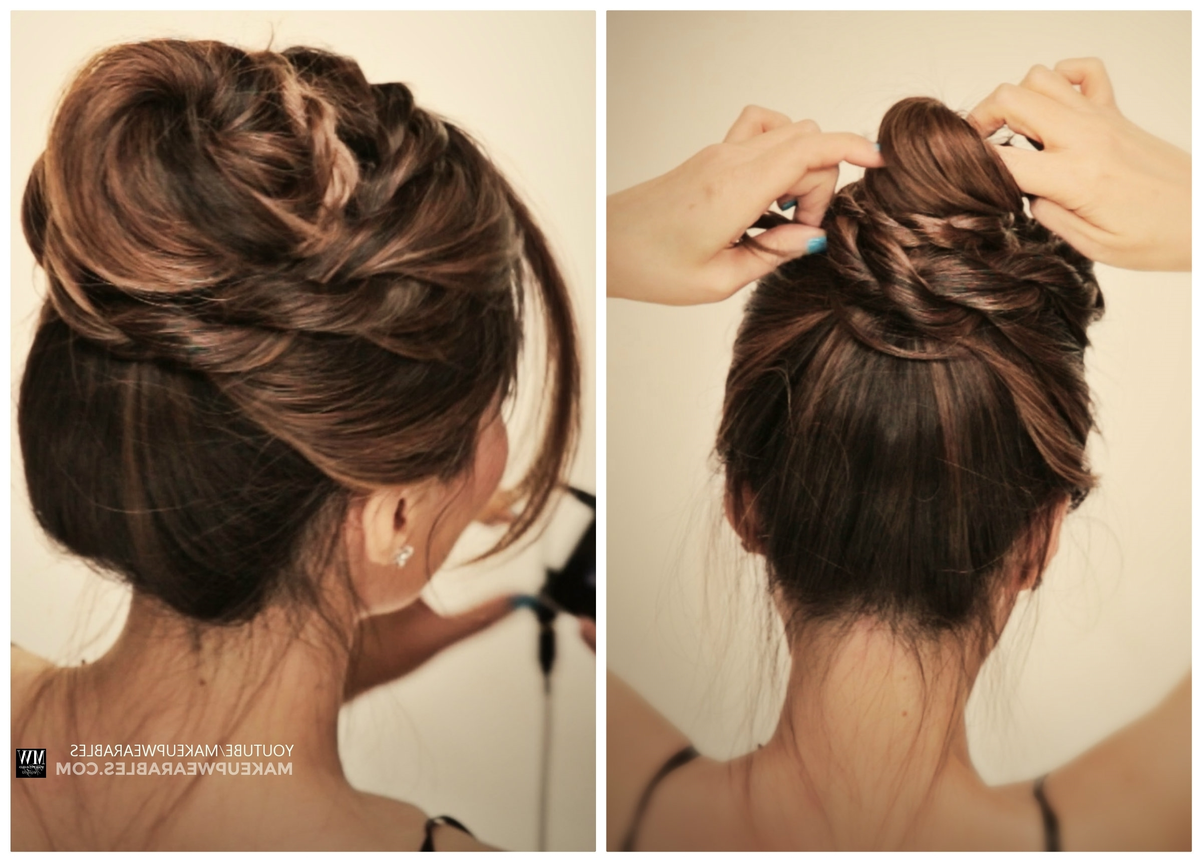 Cute Messy Bun Braids Ballerina Twisted Updo Hairstyle   Medium Hair Pertaining To Quick Messy Bun Updo Hairstyles (View 7 of 15)