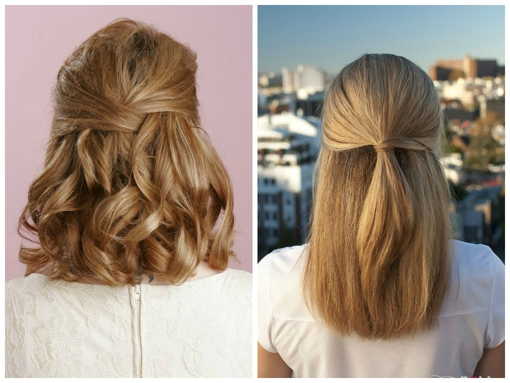 Cute Updo Hairstyles For Straight Medium Length Hair Bridesmaid Inside Straight Half Updo Hairstyles (View 8 of 15)