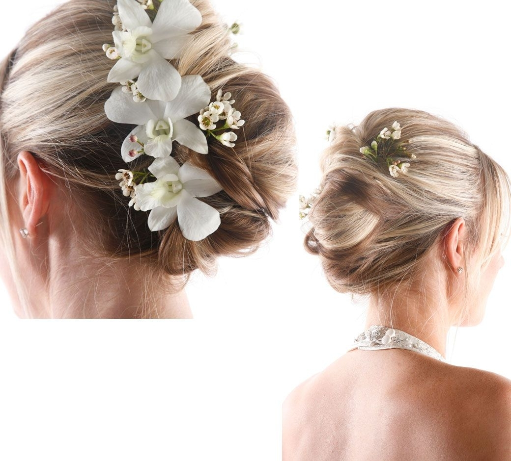 Delicate Bun Based Updo | Synthetic Hairpiece | Wedding Updo Inside Updo Hairstyles With Flowers (View 4 of 15)