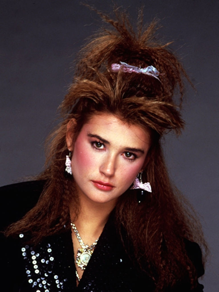 Demi Moore With Crimped Hair, C. 1985. | Years: 1980S | Pinterest Inside 80S Hair Updo Hairstyles (Gallery 10 of 15)