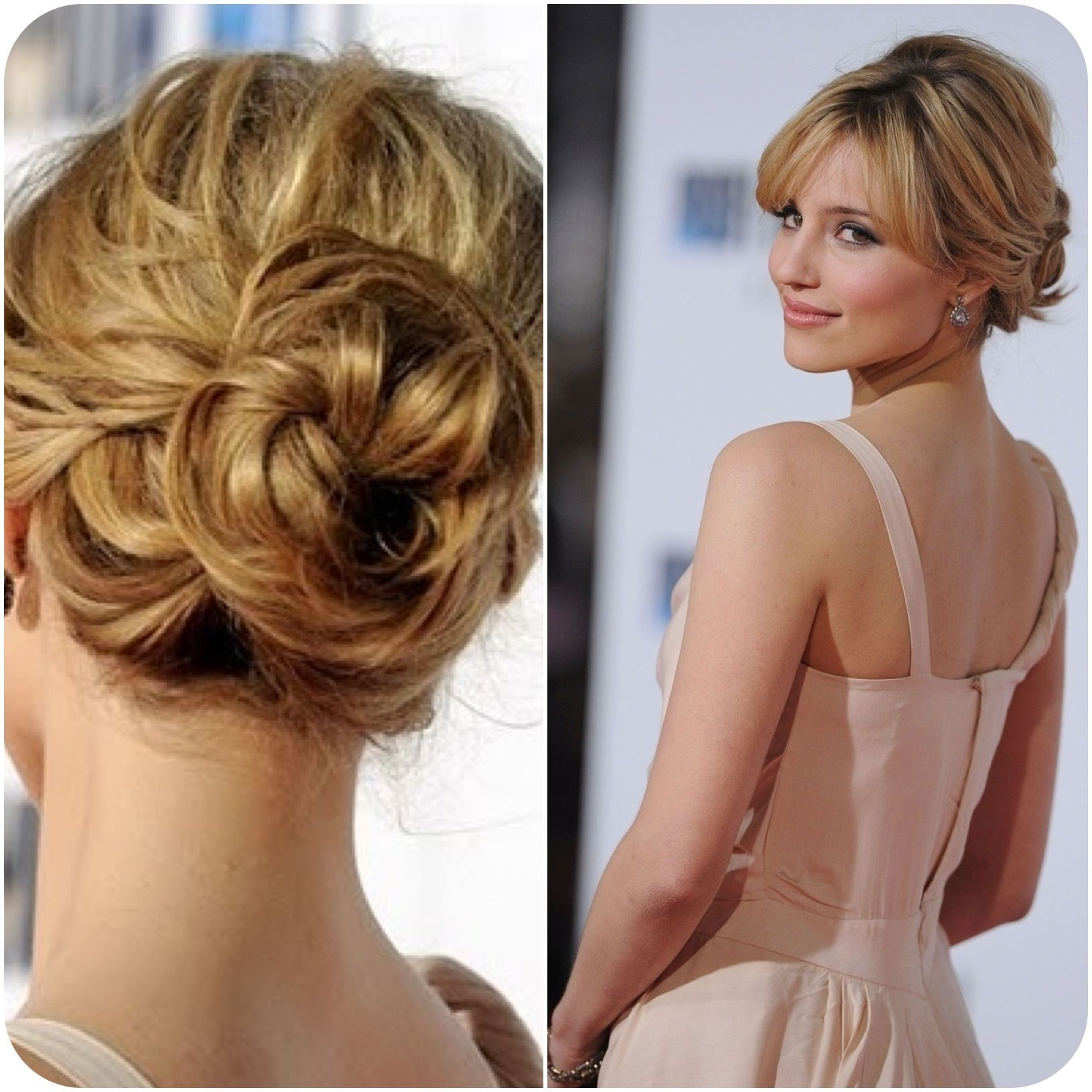 Dianna Agron Romantic Updo With Bangs | Hair | Pinterest | Dianna Throughout Romantic Updo Hairstyles (View 8 of 15)