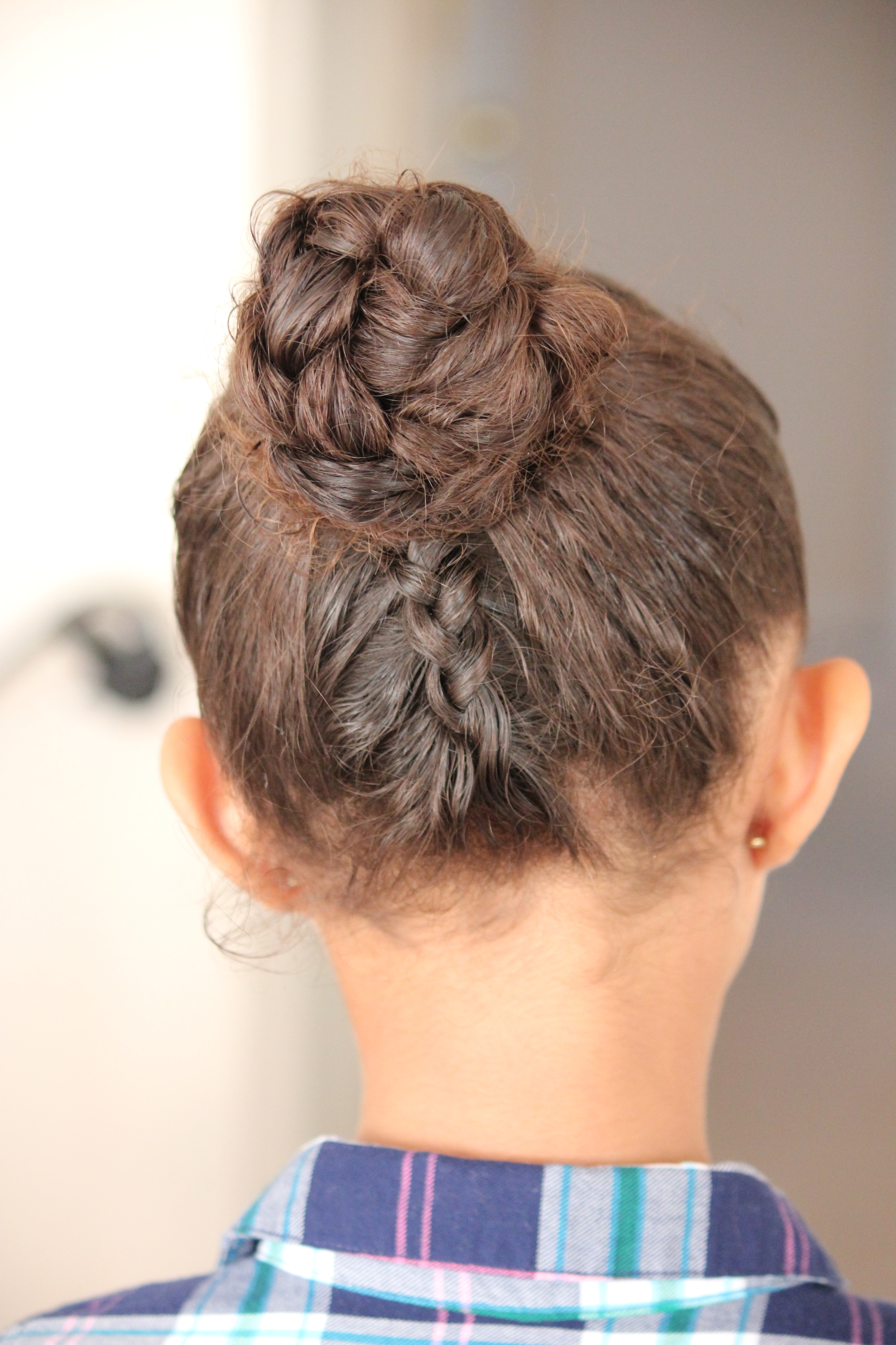 Double Dutch Braid Bun Updo Tutorial | Weather Anchor Mama Intended For Braided Bun Updo Hairstyles (Gallery 9 of 15)