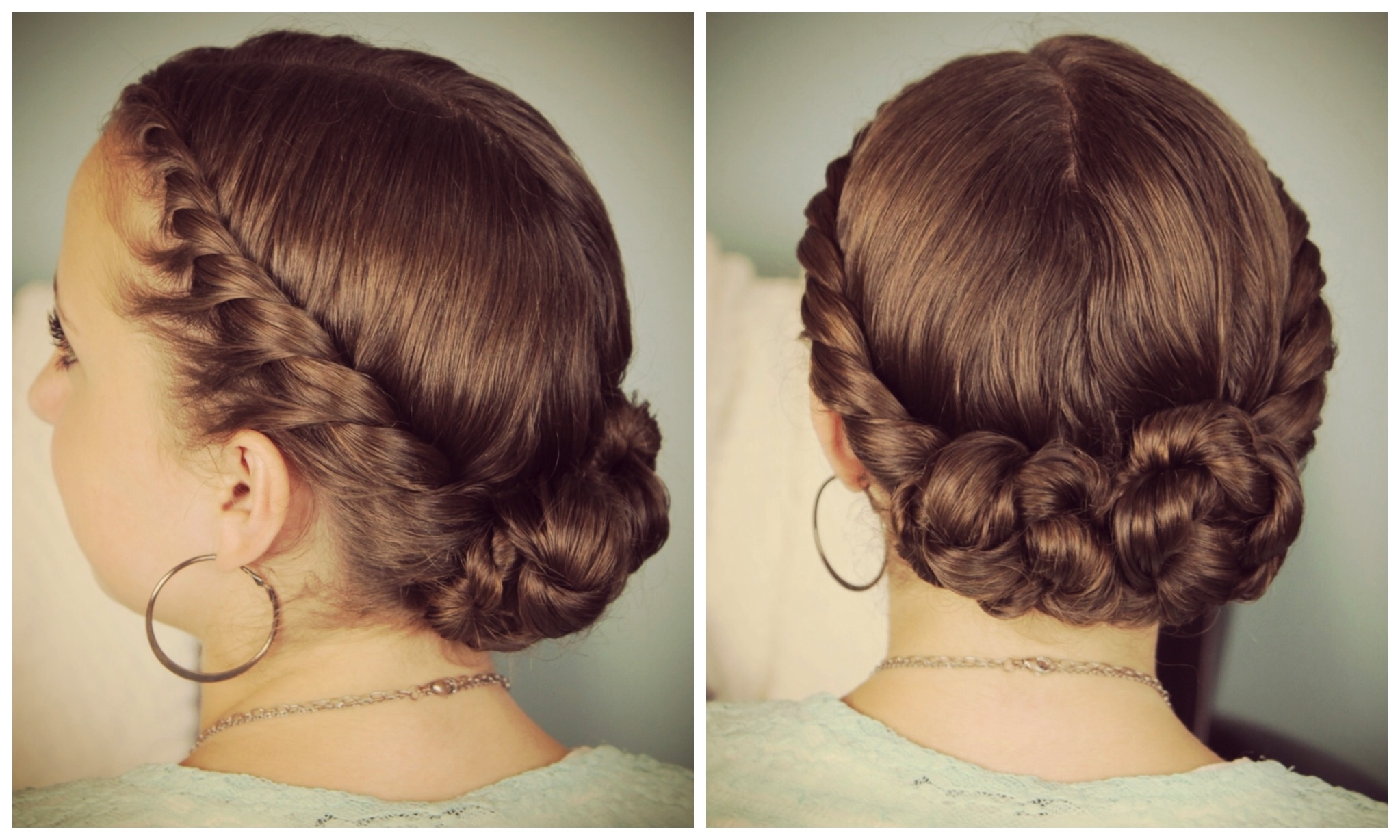 Double Twist Bun Updo Homecoming Hairstyles | Medium Hair Styles Pertaining To Cute Girls Updo Hairstyles (View 15 of 15)