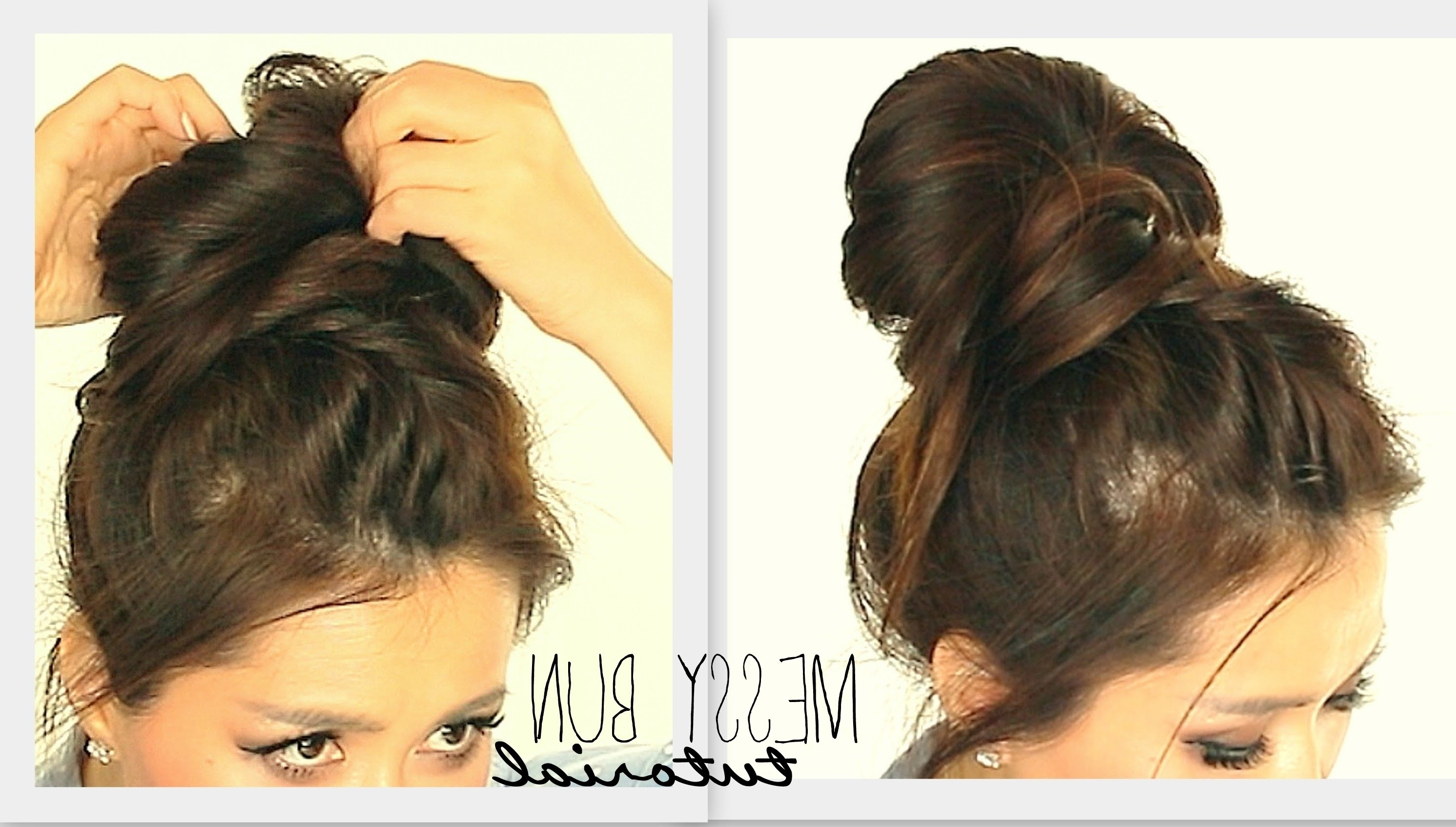 ☆ Big Messy Bun Braid Tutorial | Cute School Hairstyles For Medium Intended For Easy Bun Updo Hairstyles For Medium Hair (View 1 of 15)
