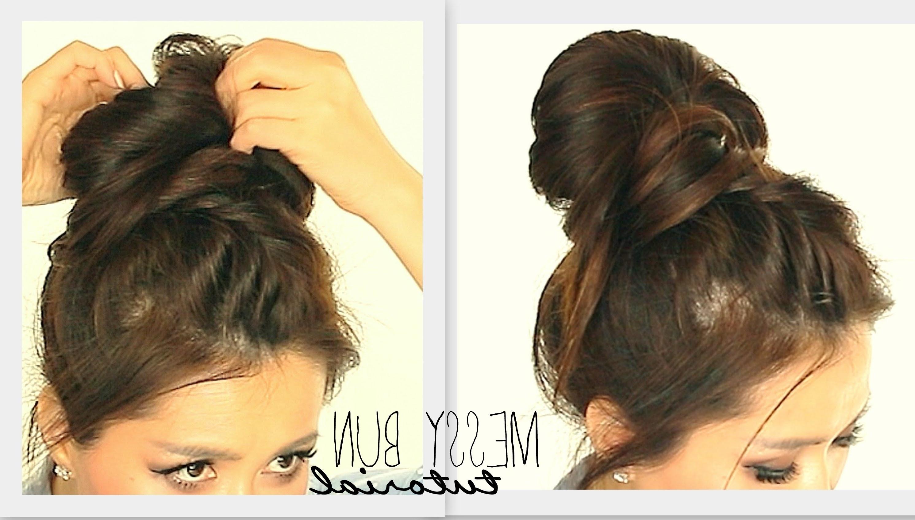 ☆ Big Messy Bun Braid Tutorial | Cute School Hairstyles For Medium Regarding Quick Messy Bun Updo Hairstyles (View 3 of 15)