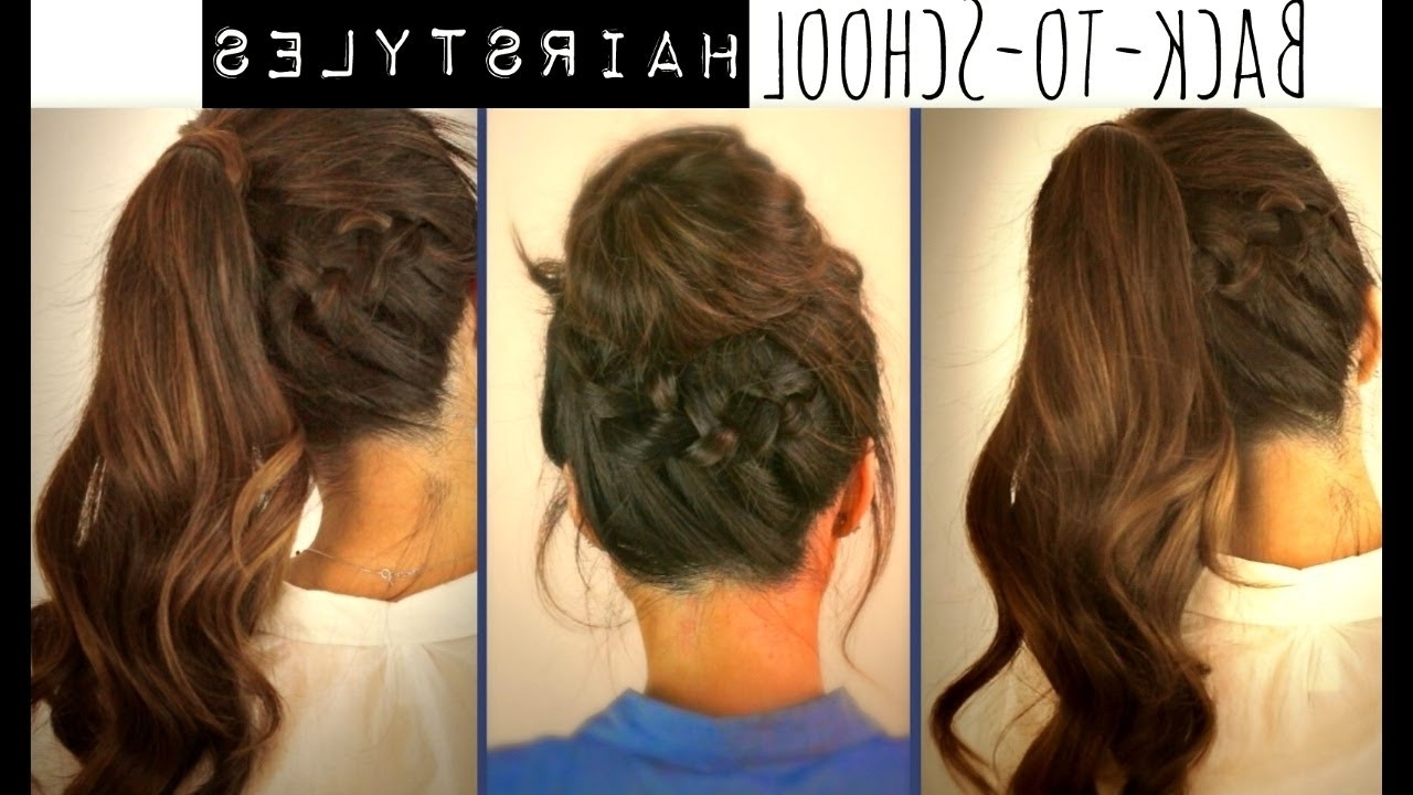 ☆ Cute Back To School Hairstyles | Braided Ponytail & Messy Bun Within Cute Updos For Long Hair Easy (View 1 of 15)
