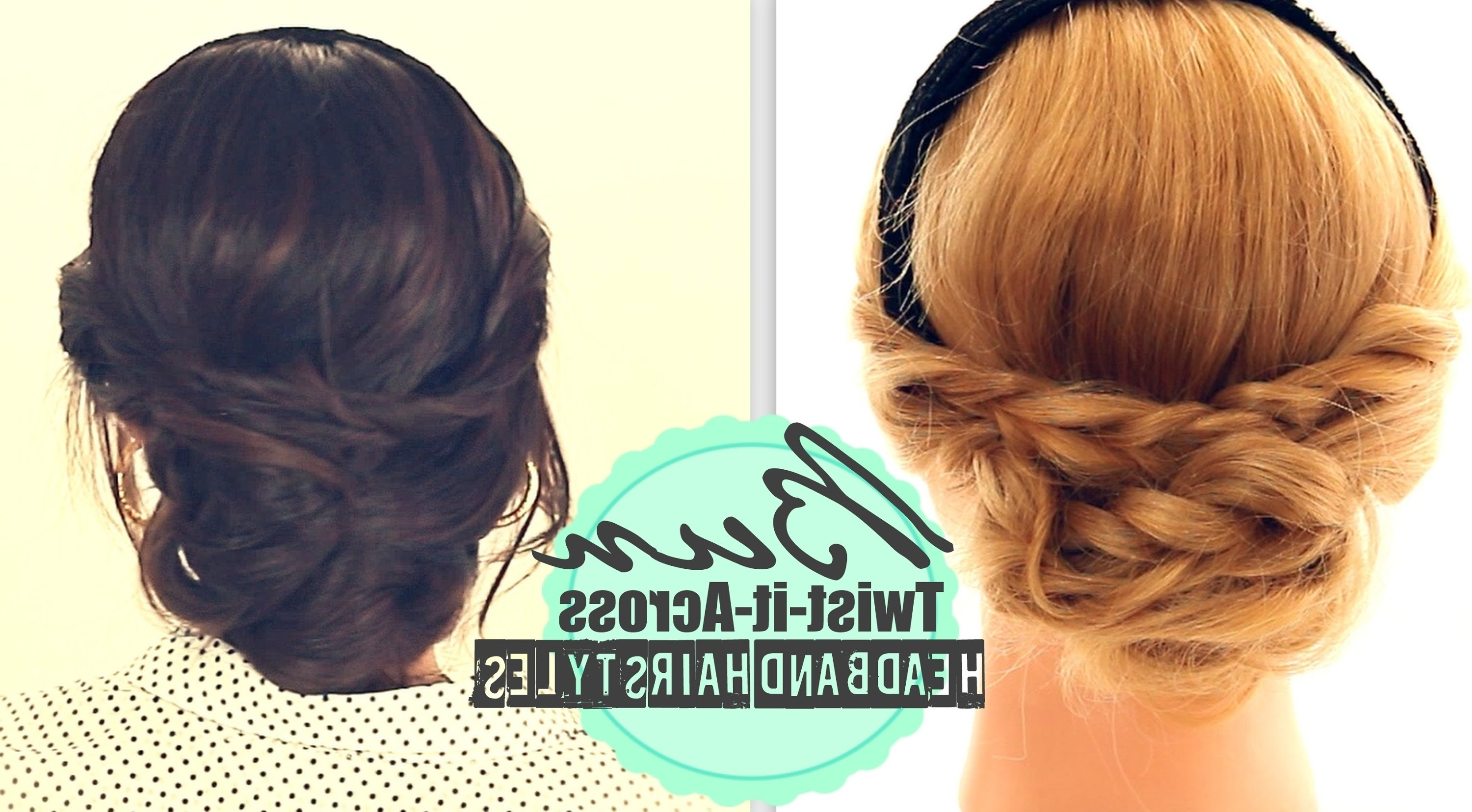 ☆ Cute Headband Hairstyles #2| Everyday Bun Twisted Updo For Medium In Twisted Bun Updo Hairstyles (View 1 of 15)