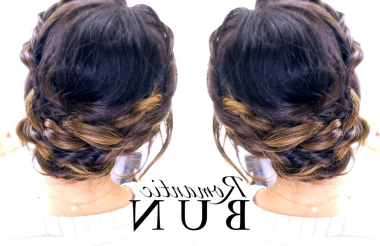 ☆ Romantic Braid Bun Hairstyle | Summer Updo Hairstyles – Youtube With Updos Buns Hairstyles (View 1 of 15)