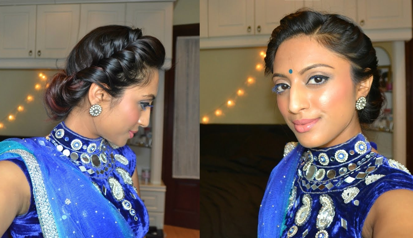 Easy 2 Minute Twist Rolled Updo Hairstyle Elegant Bohemian Indian With Regard To