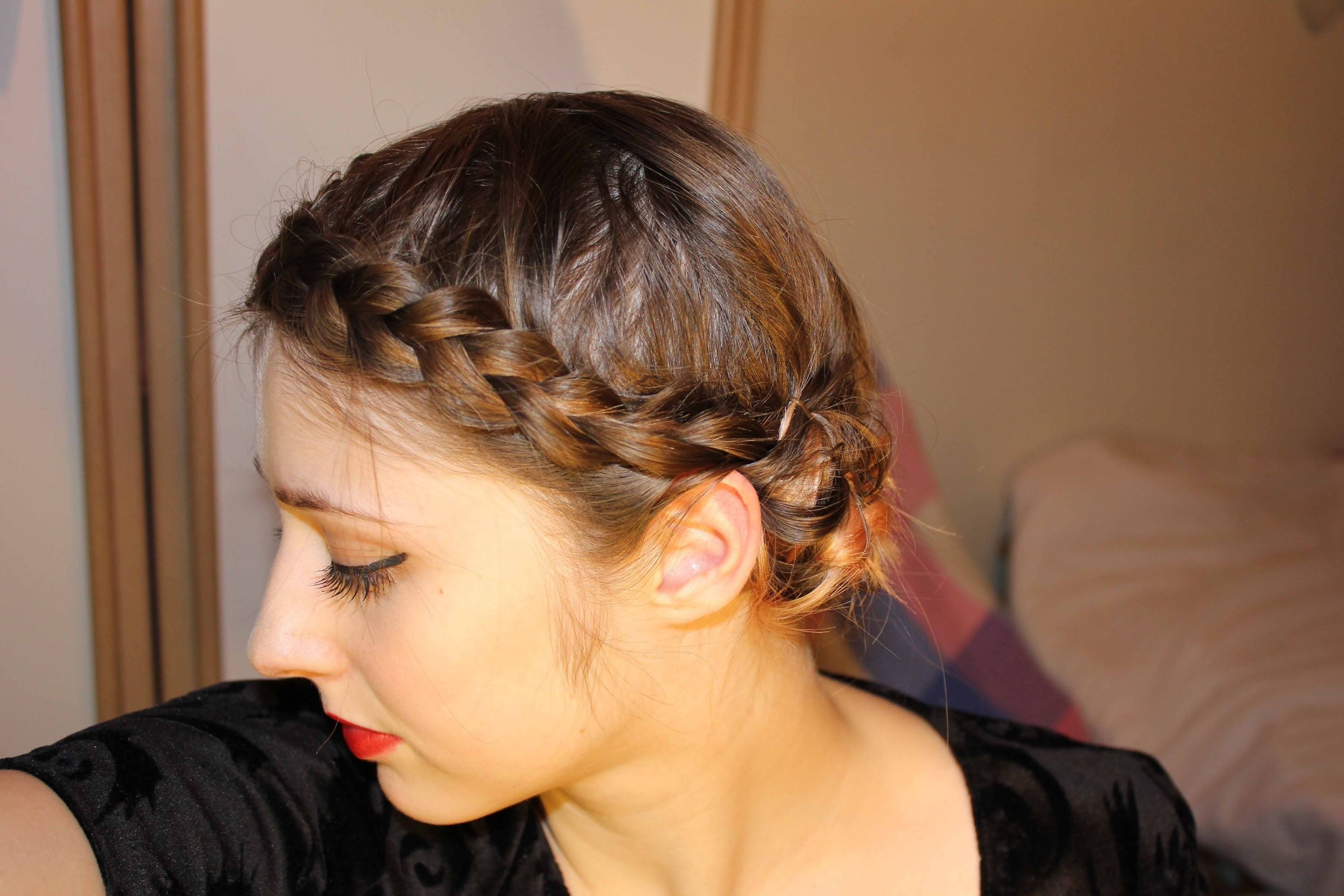 Easy Braided Updo For Short, Fine Hair – Youtube Within Updos For Thin Fine Hair (View 6 of 15)