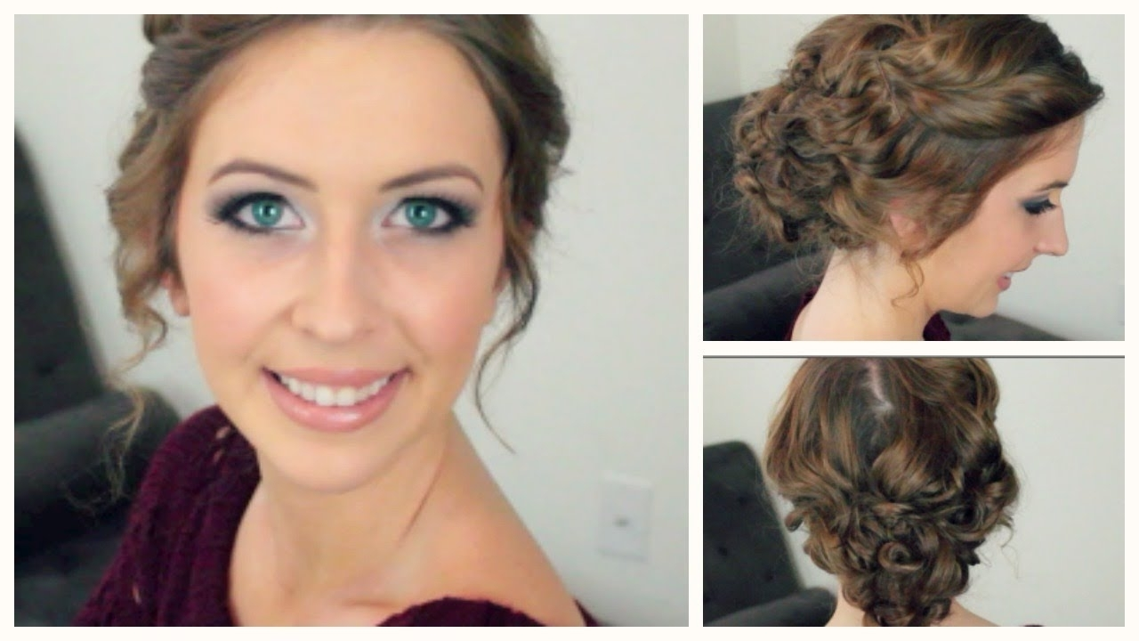 Easy Curly Updo For Any Length & Style Of Hair | Spreadinsunshine15 In Updo Hairstyles For Medium Curly Hair (View 5 of 15)
