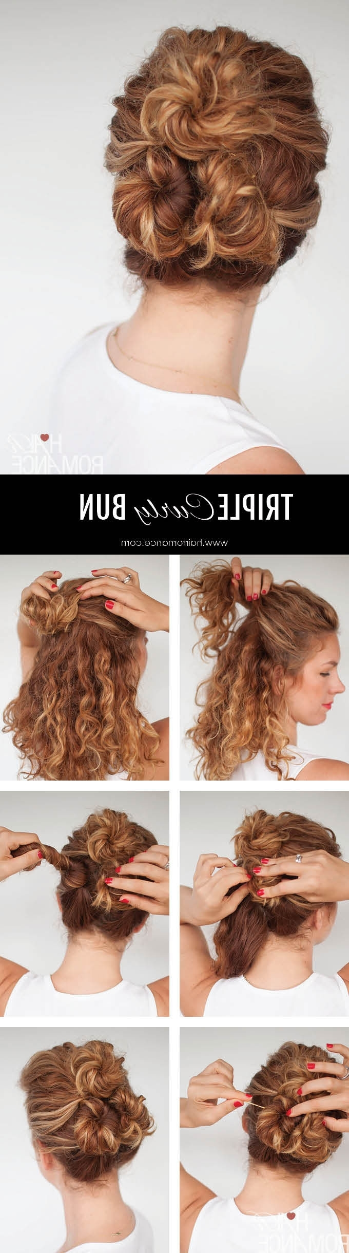Easy Everyday Curly Hairstyle Tutorials – The Curly Triple Bun Within Easy Updo Hairstyles For Curly Hair (View 10 of 15)