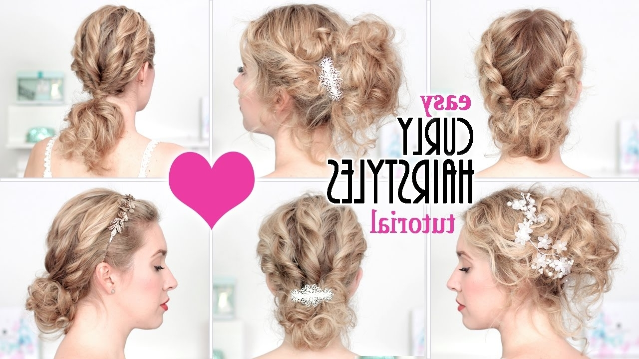 Easy Hairstyles For New Year's Eve Party, Holidays ☆ Quick Curly Pertaining To Updo Hairstyles For Wavy Medium Length Hair (Gallery 15 of 15)
