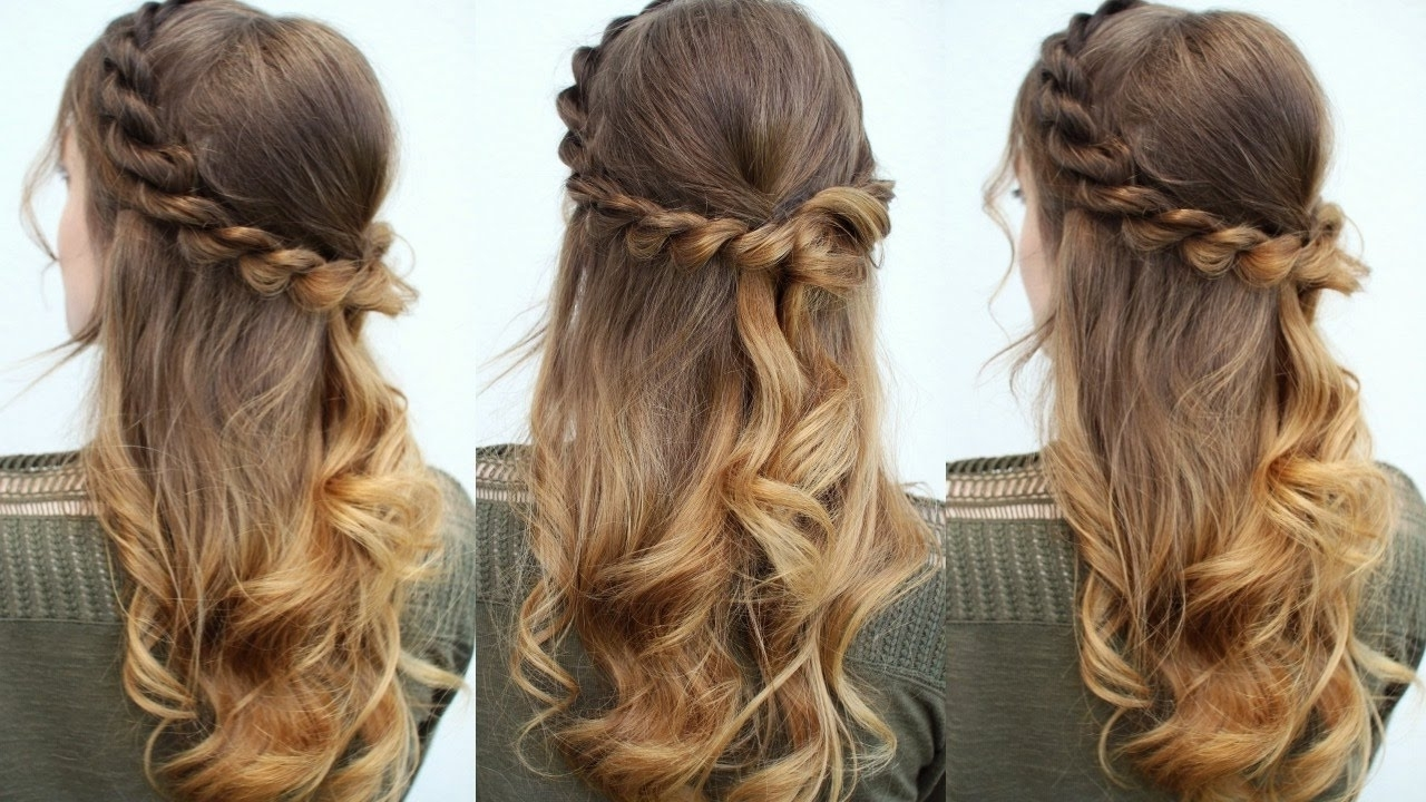 Easy Half Up Down Hair Idea Hairstyles Updo For Long Women Stock Within Half Up Half Down Updo Hairstyles (View 4 of 15)