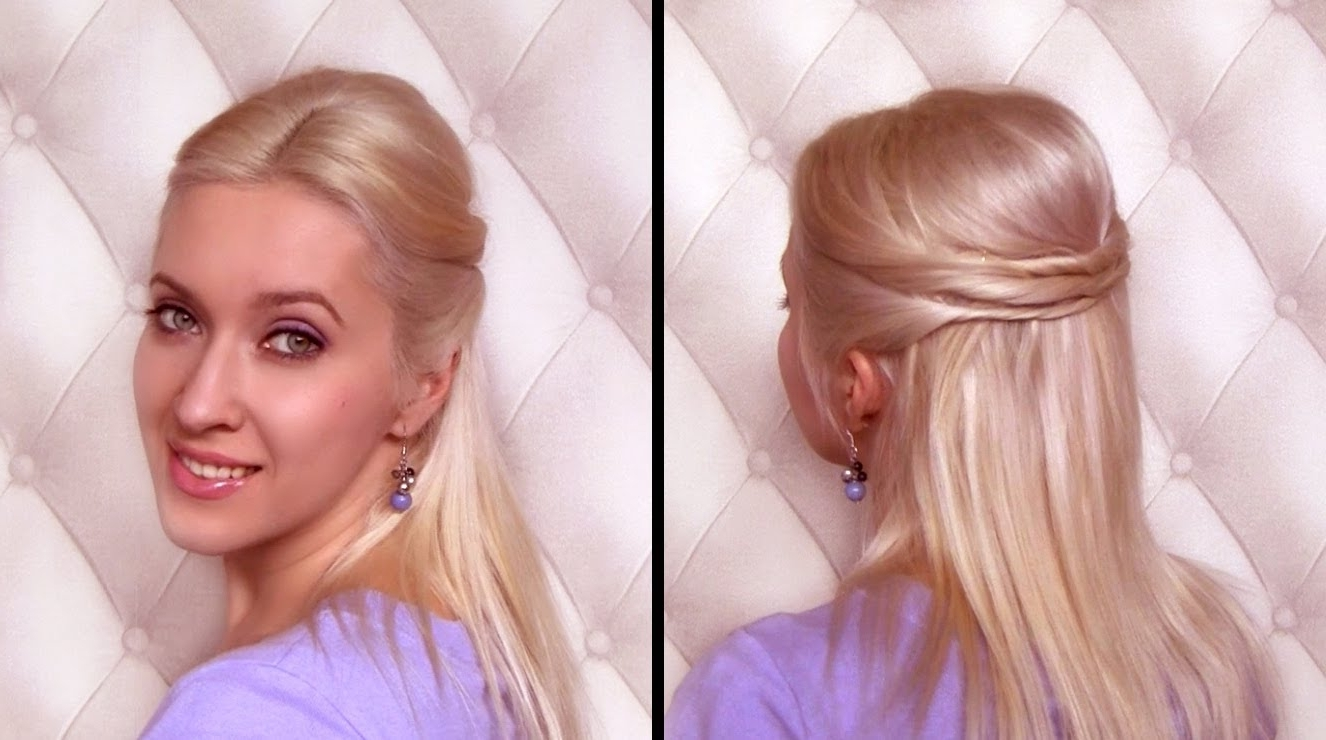 Easy Half Updo Hairstyle For Medium Hair Вечерние Прически Своими For Easy Updo Hairstyles For Fine Hair Medium (View 14 of 15)
