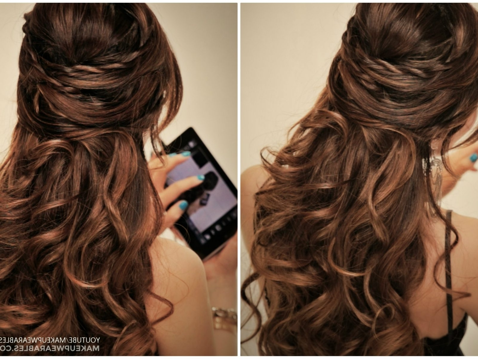 Easy Half Updo Hairstyles For Long Hair Cute Twisted Flip Up Down Pertaining To Long Hair Half Updo Hairstyles (View 6 of 15)