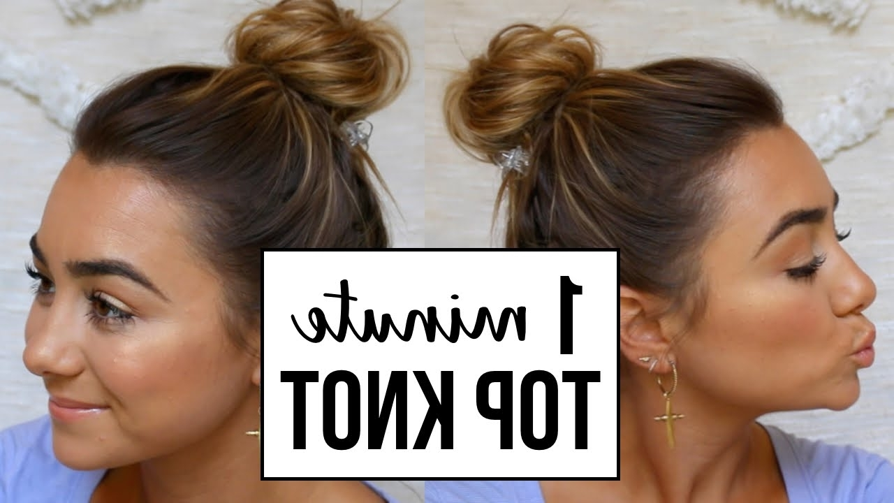 Easy Top Knot Bun | For Fine, Thin Hair – Youtube Throughout Easy Casual Updo Hairstyles For Thin Hair (View 8 of 15)