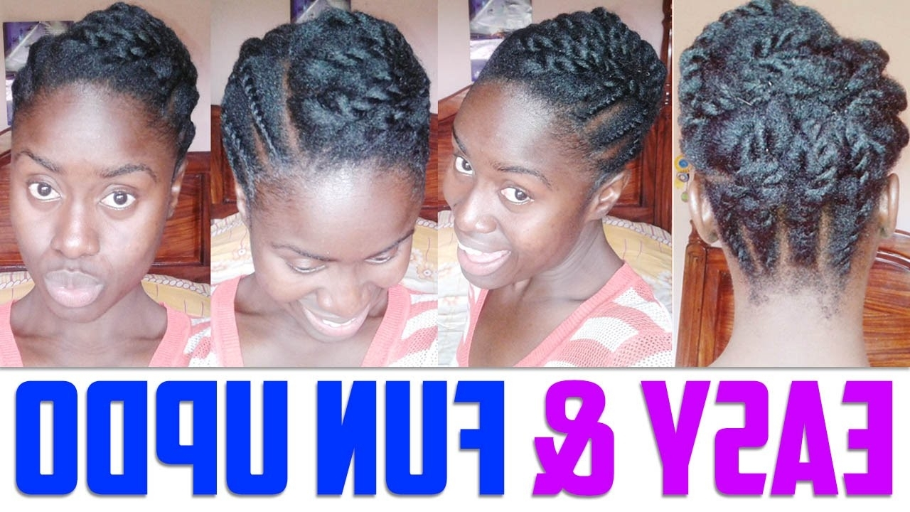 Easy Updo For Short To Medium Length Hair Natural Hairstyle – Youtube Pertaining To Updo Hairstyles For Medium Length Natural Hair (Gallery 1 of 15)