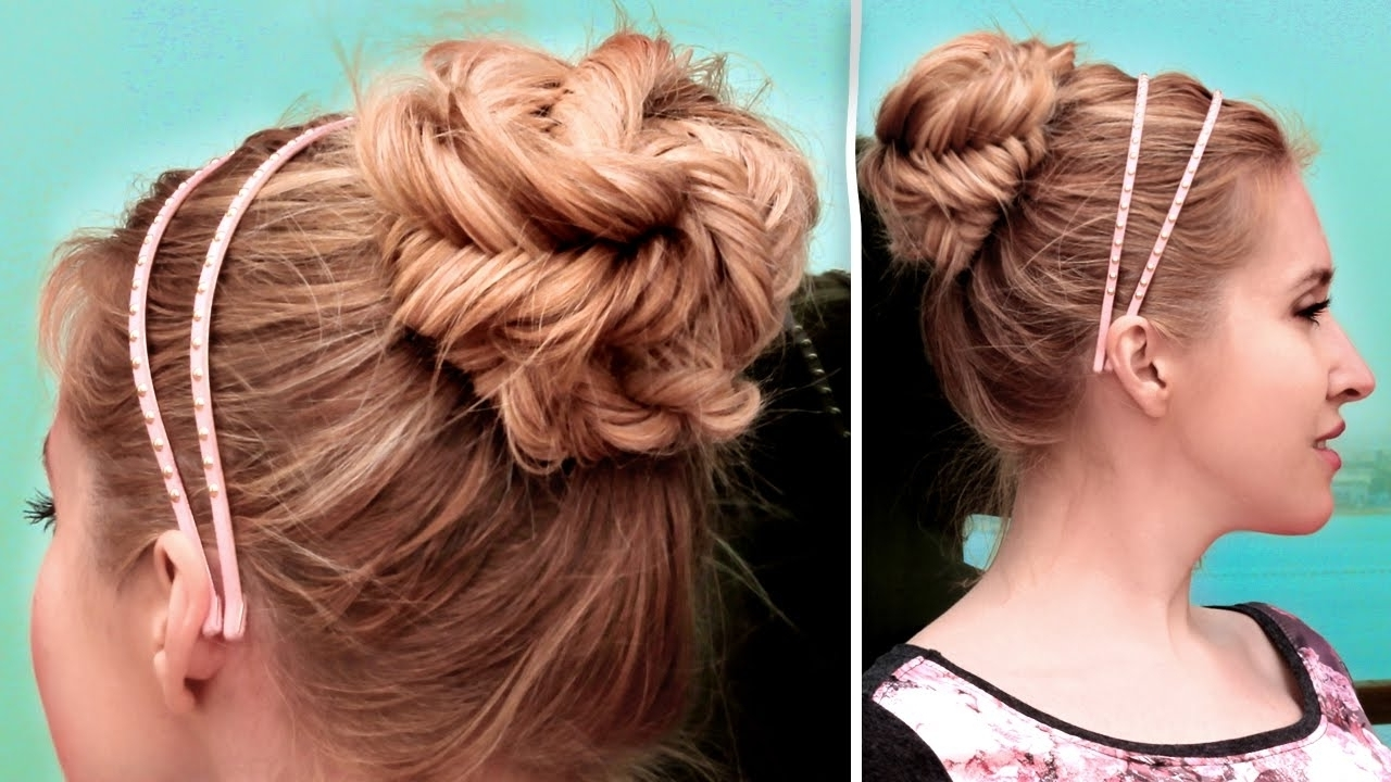 Easy Updo Hairstyles Fishtail Braided Updo Hairstyle Cute Quick And For Cute Easy Updos For Long Hair (View 9 of 15)