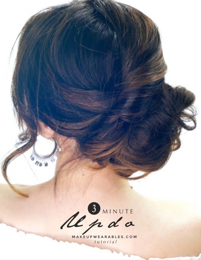Easy Updo Hairstyles For Long Hair Stepstep 3 Minute Elegant Intended For Easy Long Hair Updo Everyday Hairstyles (Gallery 9 of 15)
